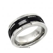 Ανδρικό Δαχτυλίδι από Ατσάλι 316 με μαύρη επιμετάλλωση