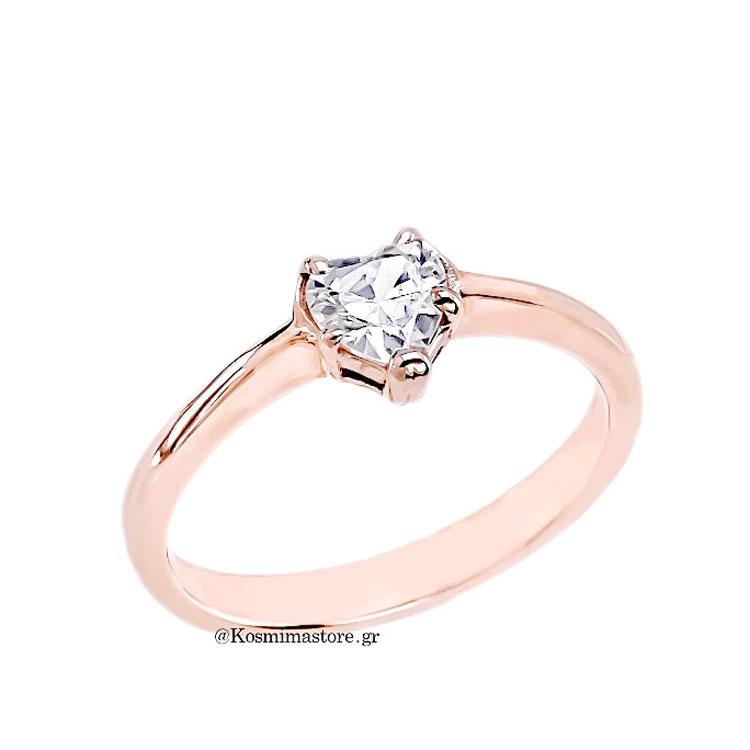 Μονόπετρο δαχτυλίδι από ροζ χρυσό 14 καρατίων με ζιργκόν 2236c21a0af