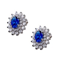 Earrings 14K white gold with zircon and blue sapphires synthetically