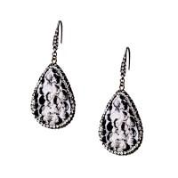Εντυπωσιακά σκουλαρίκια από δέρμα και ατσάλι με πέτρες Ζιργκόν