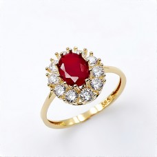 Ring in 14K gold with synthetic rubies and zircon.
