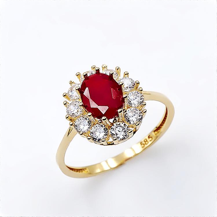 Δαχτυλίδι από Χρυσό 14 Καρατίων με συνθετικό Ρουμπίνι και ζιργκόν. b8bdd2922ef