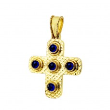 14 carat forged gold cross with blue sapphires