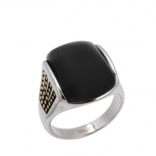 Men's Ring made of steel with  Onyx stone