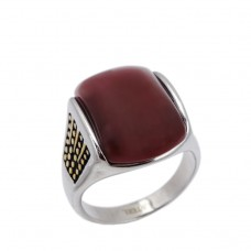 Men's Ring made of steel with  Agate stone