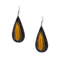 Εντυπωσιακά σκουλαρίκια από ατσάλι με πέτρες Ζιργκόν