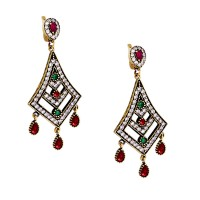 Εντυπωσιακά σκουλαρίκια από ορείχαλκο και ασήμι με γνήσιες πέτρες