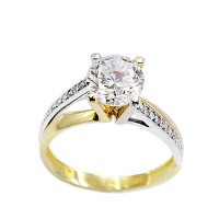 Δαχτυλίδι από λευκό  και κίτρινο χρυσό 14 Καρατίων με Ζιργκόν