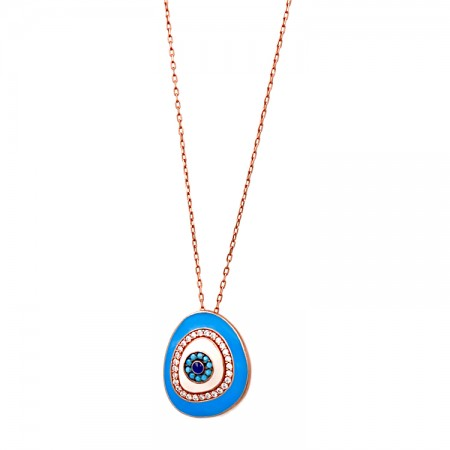 Silver eye Necklace with cubic zirconia, turquoise and enamel