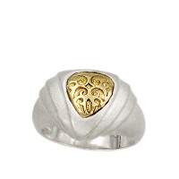925 ° textured Silver Ring and 18ct Gold