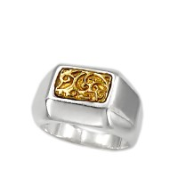 925 °  Chevalier  Silver Ring and 18ct Gold