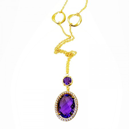 Modern Necklace made of 14 Carat gold with Zircon and Amethyst