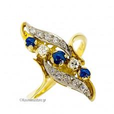 Αντικέ Δαχτυλίδι  από κίτρινο και λευκό Χρυσό 18 καρατίων με μπλε Ζαφείρια  και Διαμάντια