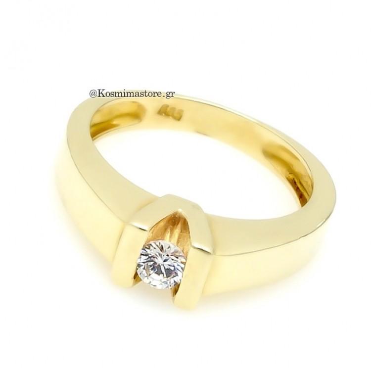 Δαχτυλίδι μονόπετρο με Ζιργκόν 12a55bd6f0c