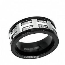 Ανδρικό Δαχτυλίδι από Ατσάλι 316 σε μαύρη επιμετάλλωση