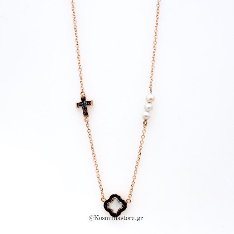 Μοντέρνο Κολιέ με σταυρούς από ροζ χρυσό 14 Καρατίων ζιργκόν και ... 00d47040827
