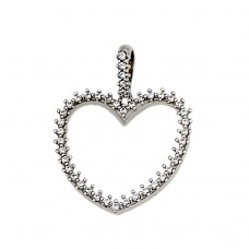 Pendant heart made of 14cts white gold with zircon