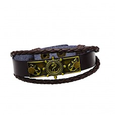 Bracelet  bronze and leather