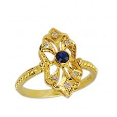 Αντικέ Δαχτυλίδι από Χρυσό 18 καρατίων με μπλε Ζαφείρι  και Διαμάντια