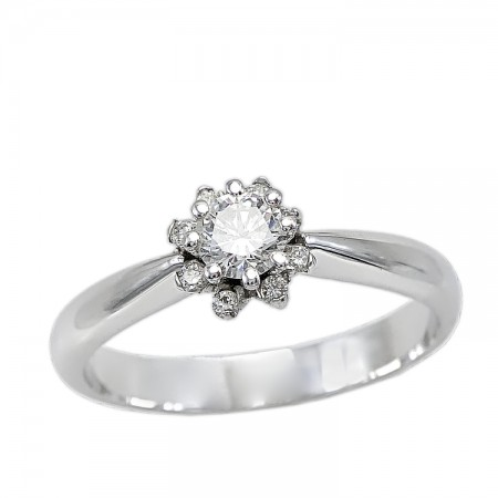 Λευκόχρυσο Δαχτυλίδι 18 Καρατίων με Διαμάντια ( Μπριγιάν ) 5e87d42185a