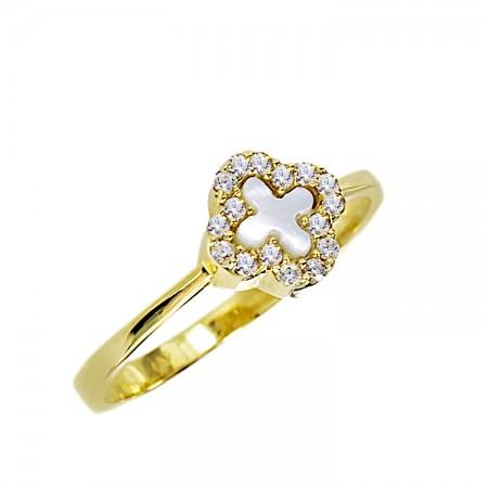 Μοντέρνο δαχτυλίδι από χρυσό 14 καρατίων με ζιργκόν και φίλντισι