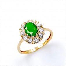 Ring in 14K gold with synthetic Emerald and zircon.