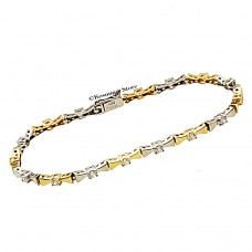 14 Carats white and yellow gold bracelet with cubic zirconia