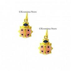 Σκουλαρίκια από χρυσό 14 Καράτια με σμάλτο