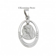 Virgin Mary of nine carat white gold with cubic zirconia