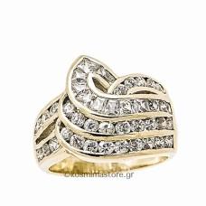 Δαχτυλίδι από χρυσό 14 Καρατίων με ζιργκόν Cubic