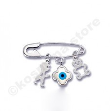 Children pin 9 carat white gold