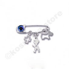 Children pin by 9 carats white gold
