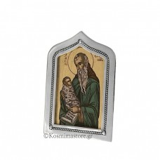 Icon of Silver 925 ° and Iconography with Saint Stylianos
