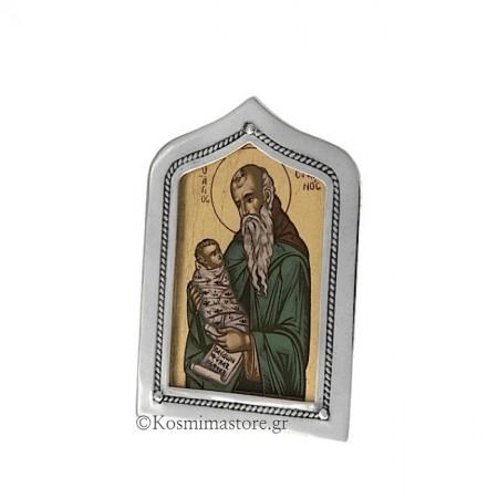 Εικόνα από Ασήμι 925° και Αγιογραφία με τον Άγιο Στυλιανό