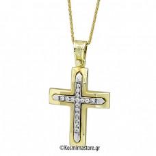 Γυναικείος δίχρωμος  Σταυρός 14 Καρατίων με ζιργκόν