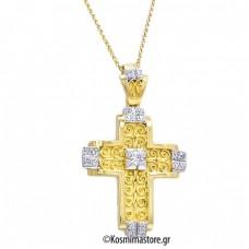 Βυζαντινός Σταυρός φτιαγμένος από κίτρινο και λευκό Χρυσό 18 Καρατίων με Ζιργκόν