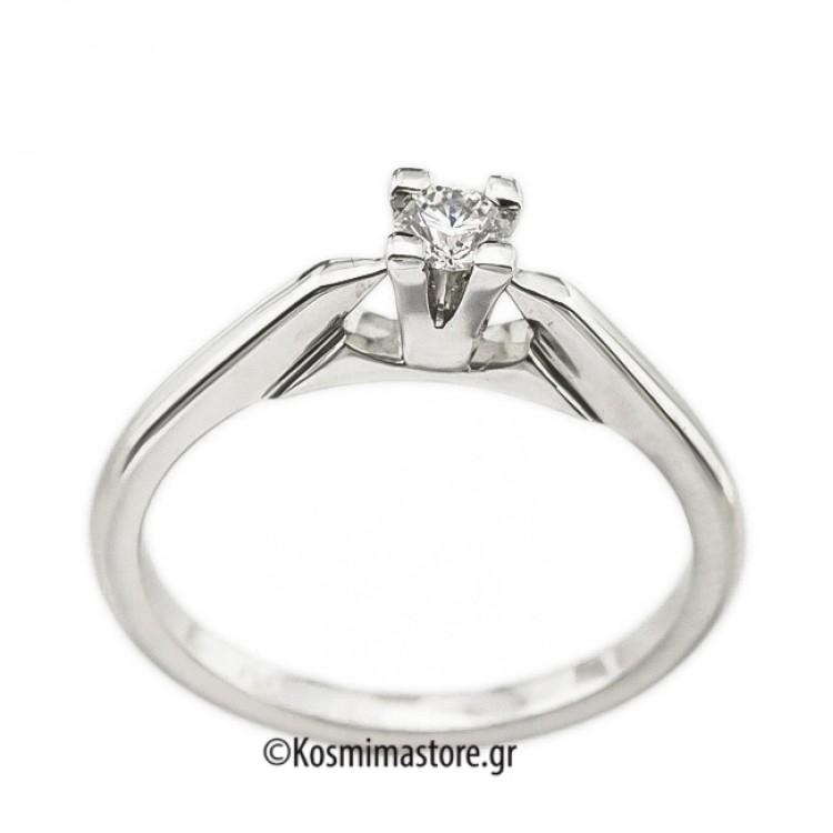 Μοντέρνο μονόπετρο Δαχτυλίδι με Διαμάντι από λευκόχρυσο 18 Καράτια 04e6c676edf