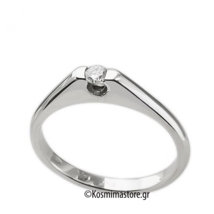 Μοντέρνο Δαχτυλίδι μονόπετρο από λευκόχρυσο 18 Καράτια με Διαμάντι 90c456ea65c