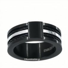 Ατσάλινο Δαχτυλίδι σε μαύρη επιμετάλλωση