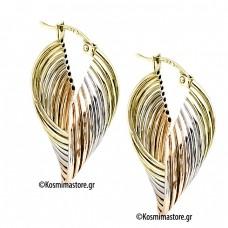 A beautiful pair of earrings three colors gold 14 carat