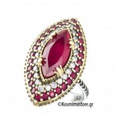 Αντικέ Δαχτυλίδι από Ασήμι 925°με Ρουμπίνια και Ζιργκόν