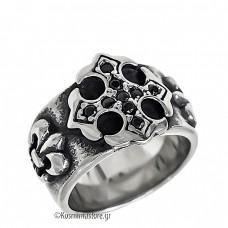 Ατσάλινο Δαχτυλίδι με μαύρα ζιργκόν