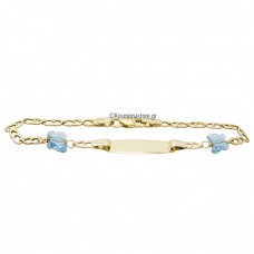 Children's Identity by 14 carat gold with two blue zircon