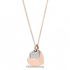 Necklace of pink and white gold 18 carat with diamonds.