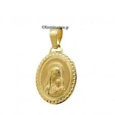 Οβάλ Παναγία απο χρυσό 14 Καράτια