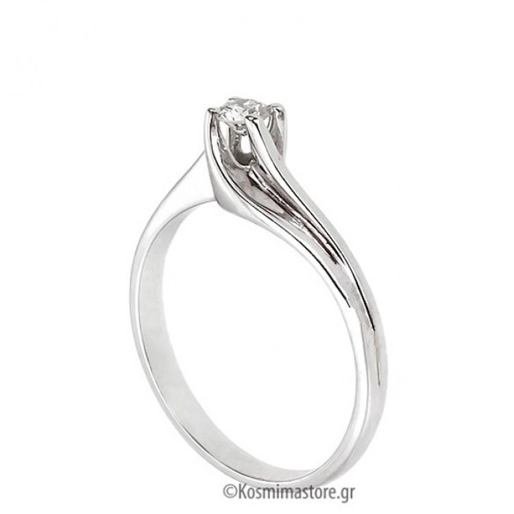 Μοντέρνο μονόπετρο Δαχτυλίδι από λευκόχρυσο 18 Καράτια με Διαμάντι 7fa805bbda1