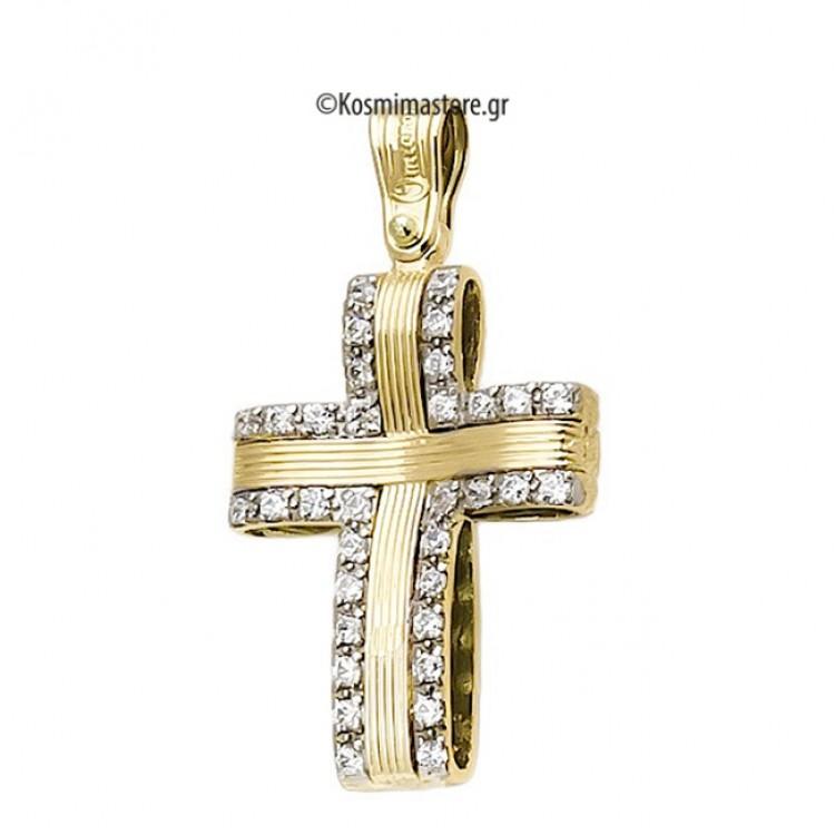 Γυναικείος Σταυρός από κίτρινο και λευκό Χρυσό 14 Καρατίων με Ζιργκόν ... 68593bd0f99