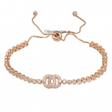 925º Silver Bracelet with pink gold plated and zircon