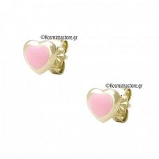 Σκουλαρίκια Καρδούλες από Χρυσό 9 Καρατίων με Σμάλτο