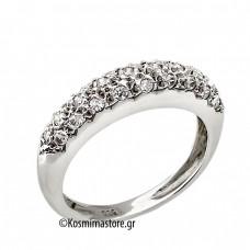Δαχτυλίδι από 14 Καράτια λευκόχρυσο με ζιργκόν